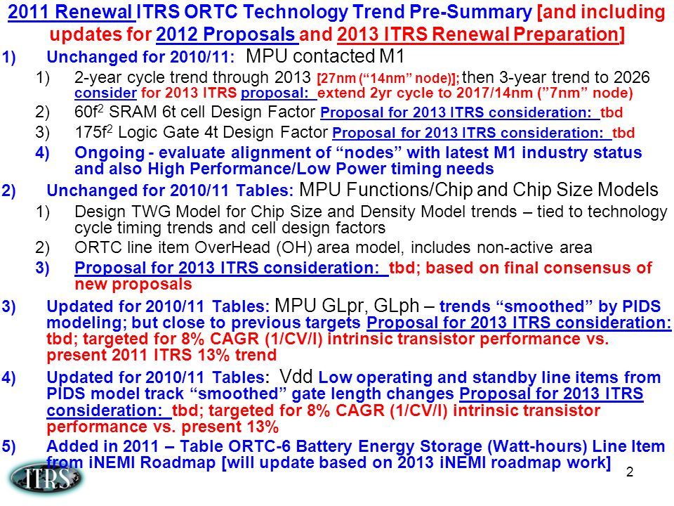 2011 Renewal ITRS ORTC Technology Trend Pre-Summary [and including updates for 2012 Proposals and 2013 ITRS Renewal Preparation]